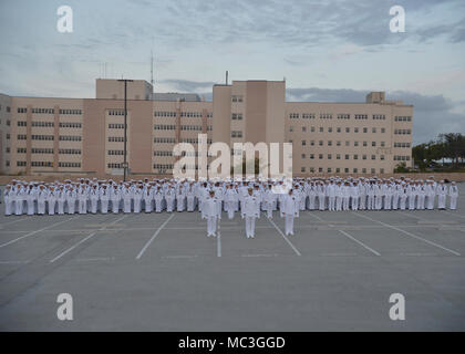 """SAN DIEGO (Mar. 16, 2018)  Sailors from Naval Medical Center San Diego""""s (NMCSD) Directorate for Administration (DFA) stand in formation for a group photo after an inspection. DFA is committed to providing quality, timely, innovative and economical healthcare administration to staff and patients of NMCSD. - Stock Photo"""
