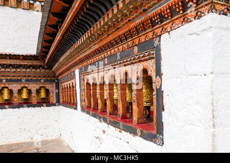 The view of the Punakha Dzong considered as Palace of the great happiness at Punakha, Bhutan - Stock Photo