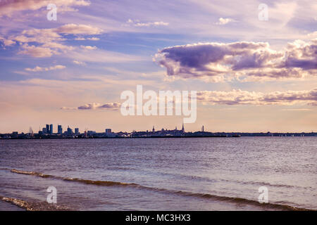 The old town of Tallinn. View of the city from the Finnish Gulf of the Baltic Sea. antiquated tone effect - Stock Photo