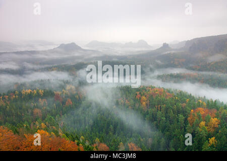 View from Mount Gleitmannshorn over the Kleiner Zschand to Mount Winterstein, Elbe Sandstone Mountains, Saxonian Switzerland NP, Saxony, Germany - Stock Photo