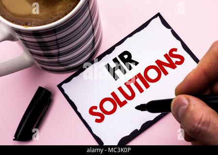 Handwriting text writing Hr Solutions. Concept meaning Recruitment Solution Consulting Management Solving Onboarding written by Man Sticky Note paper  - Stock Photo
