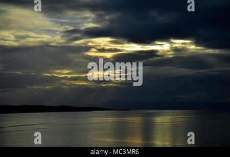 Sunset and reflections over Loch Gairloch - Stock Photo