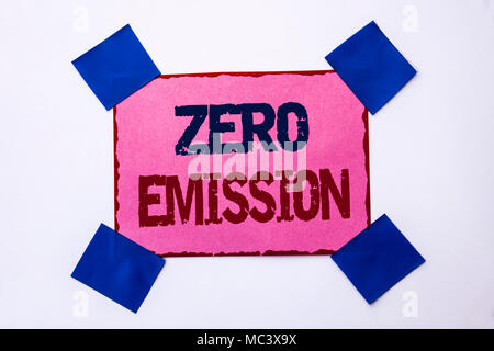 Conceptual hand writing showing Zero Emission. Business photo text Engine Motor Energy Source that emits no waste products written on Pink Sticky Note Paper on the plain background. - Stock Photo