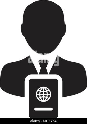 Passport Icon Vector With Male Person Profile Avatar Symbol for International Identity and Travel in Glyph Pictogram illustration - Stock Photo