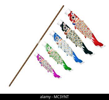 japan koi fish kite on a white background - Stock Photo