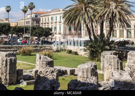 Columns of the Temple of Apollo in Ortigia, Siracusa, Sicily. - Stock Photo
