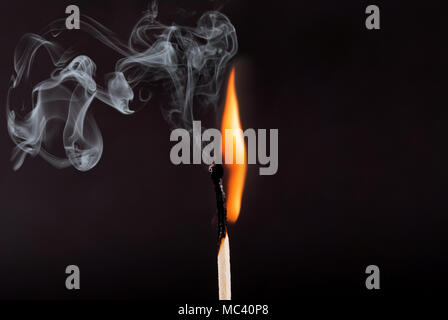 Matches stick with the flame and smoke burning, isolated on a black background - Stock Photo