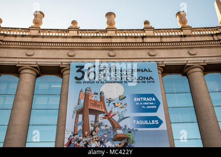 April 12, 2018 - Barcelona, Catalonia, Spain - Giant poster announcing the Barcelona comic fair. Opening of the 36th Barcelona International Comic Fair from 12th-15th April 2018 in Fira Barcelona Montjuïc. (Credit Image: © Paco Freire/SOPA Images via ZUMA Wire) - Stock Photo