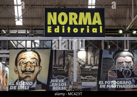 April 12, 2018 - Barcelona, Catalonia, Spain - Stand of Norma Editorial. Opening of the 36th Barcelona International Comic Fair from 12th-15th April 2018 in Fira Barcelona Montjuïc. (Credit Image: © Paco Freire/SOPA Images via ZUMA Wire) - Stock Photo