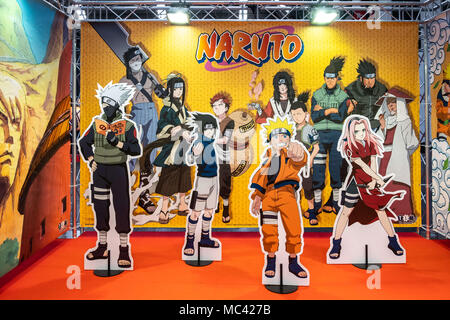 April 12, 2018 - Barcelona, Catalonia, Spain - Stage for selfies with Naruto characters. Opening of the 36th Barcelona International Comic Fair from 12th-15th April 2018 in Fira Barcelona Montjuïc. (Credit Image: © Paco Freire/SOPA Images via ZUMA Wire) - Stock Photo