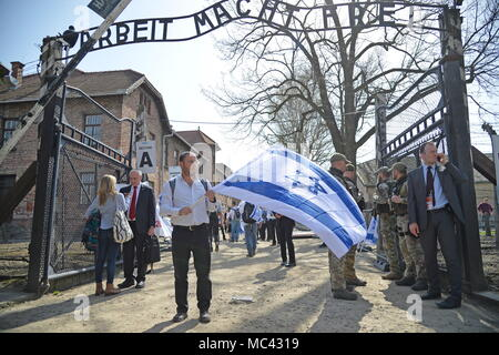 Oswiecim, Poland. 12th Apr, 2018. OSWIECIM, POLAND - APRIL 12, 2018: People take part in the annual March of the Living to commemorate the Holocaust victims, at the former Auschwitz concentration camp. Andrzej Kowalski/TASS Credit: ITAR-TASS News Agency/Alamy Live News - Stock Photo