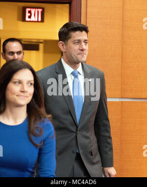 Speaker of the United States House of Representatives Paul Ryan (Republican of Wisconsin) arrives to announce he will not seek re-election to his seat and that he will be leaving Congress in January 2018. Ryan said he was proud of the accomplishments of the GOP majority under his leadership. Credit: Ron Sachs/CNP (RESTRICTION: NO New York or New Jersey Newspapers or newspapers within a 75 mile radius of New York City) -NO WIRE SERVICE- Photo: Ron Sachs/Consolidated/dpa - Stock Photo