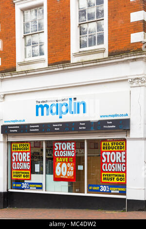 Bournemouth, Dorset, UK. 13th April 2018. Maplin store in Bournemouth will be closing, one of many in the UK. Credit: Carolyn Jenkins/Alamy Live News - Stock Photo