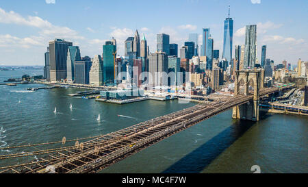 The Brooklyn Bridge and downtown Manhattan Skyline, New York City, USA - Stock Photo