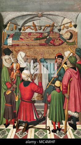 Jaume Huguet, Posthumous Miracles by Saint Vincent. Circa 1455-1460. Tempera, stucco reliefs and gold leaf on wood. Museu Nacional d'Art de Catalunya, - Stock Photo