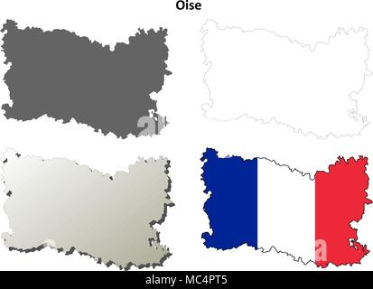 Oise, Picardy outline map set - Stock Photo
