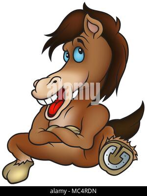 Sitting Brown Horse - Stock Photo