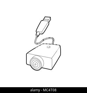 E-cigarette USB cable charge icon, outline style - Stock Photo