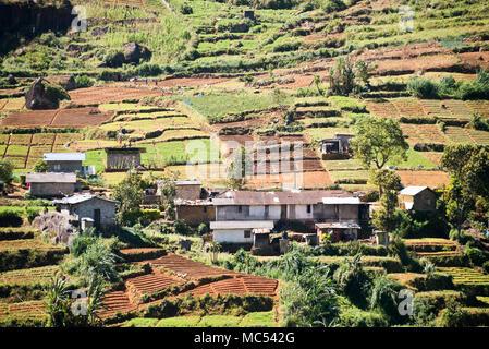Horizontal view of the small village in the tea plantations in Nuwara Eliya, Sri Lanka. - Stock Photo