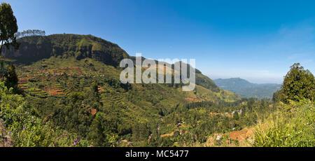 Horizontal panoramic view of the Ramboda Oya valley in Nuwara Eliya, Sri Lanka. - Stock Photo