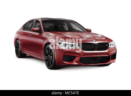 Sixth-generation BMW M5 with M xDrive, 2018 performance car, luxury sport sedan, 5-series in dark red, burgundy matte color. Isolated with a clipping  - Stock Photo