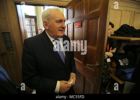 Former Taoiseach Mr Bertie Ahern Follows Senator George J Mitchell