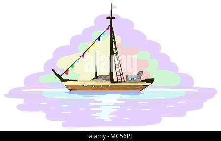 Boat voyage painting fragment, vector illustration, horizontal, isolated - Stock Photo