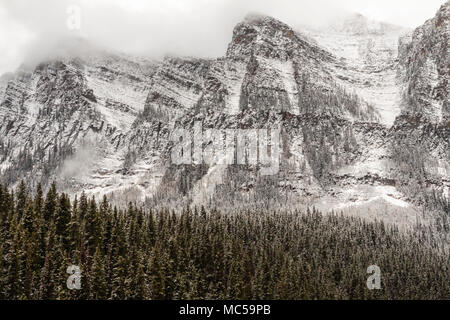 Snow Storm in late October at Lake Louise and Victoria Glacier in Banff National Park in Alberta, Canada.