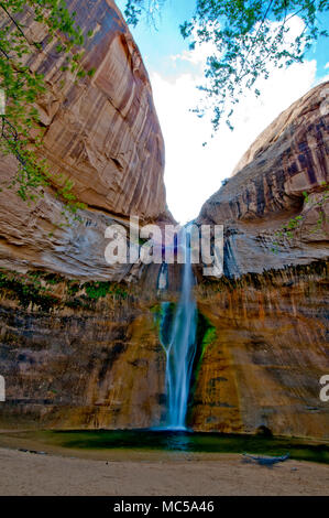 Lower Calf Creek Falls; Grand Staircase-Escalante National Monument Utah - Stock Photo