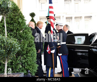 President Donald J. Trump hosts the Armed Forces Full Honor Cordon ceremony in honor of Nursultan Nazarbayev, the President of Kazakhstan, at the White House, in Washington D.C. Jan. 16, 2017.   (U.S. Army photo by Darrell Hudson) - Stock Photo