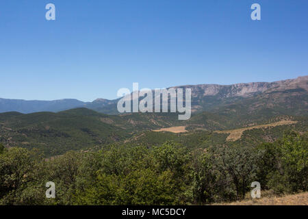 Mountain landscape on a clear summer day on the peninsula of Crimea. Magnificent mountains. - Stock Photo