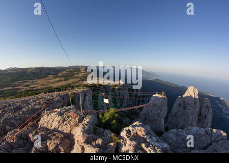 The cable car on the top of the Ai-Petri mountain peninsula Crimea. Magnificent view of the mountain landscape. - Stock Photo