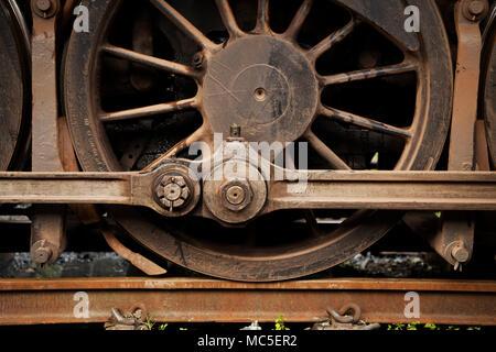 Close-up, detail, push rod, steam locomotive drive system, wheel, train, engine - Stock Photo