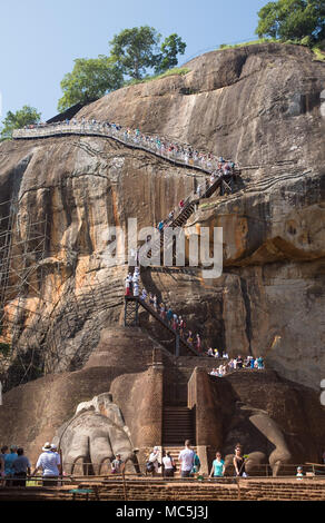 Lion's Paw Terrace and Lion's Paw staircase, Sigiriya Rock Fortress (Lion Rock), UNESCO World Heritage Site, Sigiriya, Cultural Triangle - Stock Photo