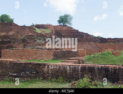 Tourists at Sigiriya Rock Fortress, Central Province, Sri Lanka, Asia. - Stock Photo