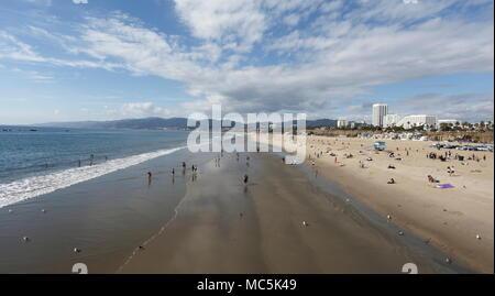 View from Santa Monica pier, California, looking towards Santa Barbara - Stock Photo