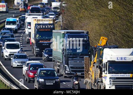 traffic jam on dual carriageway leeds yorkshire united kingdom - Stock Photo