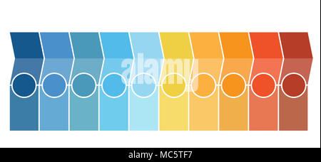 Template Infographics, arrows, columns, circles, design for Timeline 10 position can be used for workflow, banner, diagram, web design, area chart. - Stock Photo