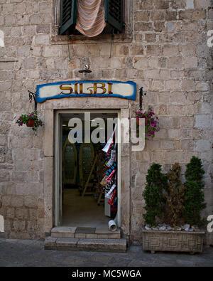 Souvenir shop doorway in Kotor, Montenegro - Stock Photo