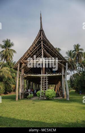Ancient haus tambaran (spirits house or men's house), Kanganaman Village, East Sepik Province, Papua New Guinea - Stock Photo