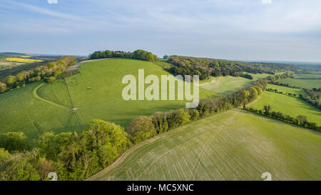 Beautiful Rolling Hills in the South Downs National Park - UK - Stock Photo