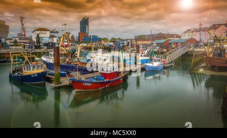 Fishing Boats Moored in Camber Docks, Old Portsmouth - UK - Stock Photo