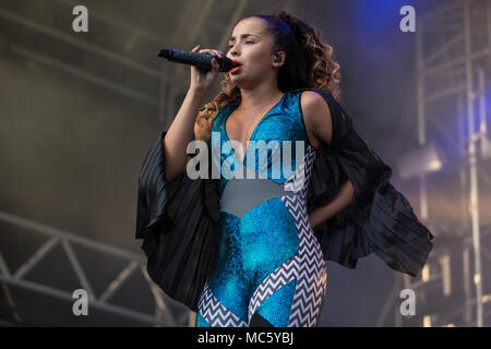 English pop and R&B singer Ella Eyre live at the 26th Heitere Open Air in Zofingen, Aargau, Switzerland - Stock Photo