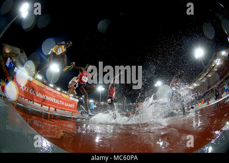 A general view of the Men's 3000m Steeplechase Final at the Carrara Stadium during day nine of the 2018 Commonwealth Games in the Gold Coast, Australia. - Stock Photo