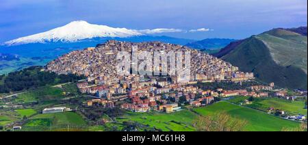 Impressive Gangi village,view with Etna volcan,Sicily,Italy. - Stock Photo