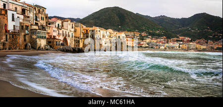 Beautiful Cefalu' village,view with sea and mountains,Sicily,Italy. - Stock Photo
