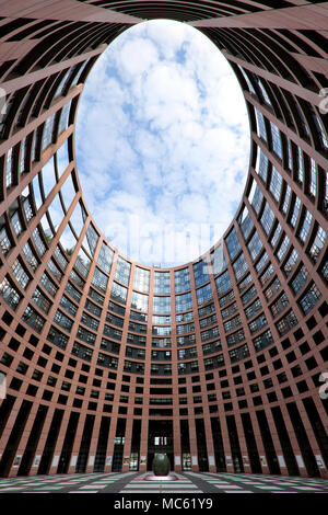 Inner courtyard, European Parliament Building, Strasbourg, Alsace, France - Stock Photo