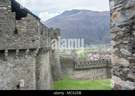 old castle and fortress in the alpine city of Bellinzona in the Ticino - Stock Photo