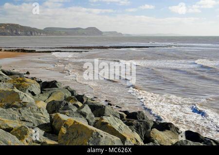 View from Lyme Regis in Dorset looking towards Golden Cap. - Stock Photo
