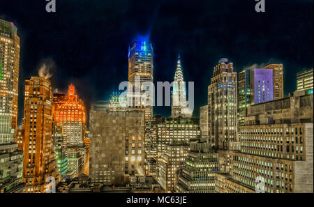 New York City, New York, Jan 2018, view of midtown Manhattan at nighttime  from the 29th floor - Stock Photo